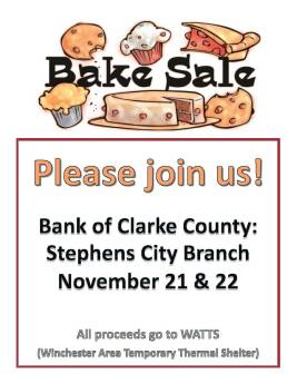 November 2017 Bake Sale